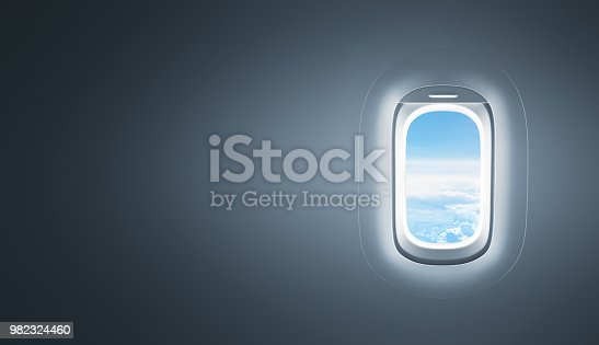 Airplane window with copy space - 3d Rendering