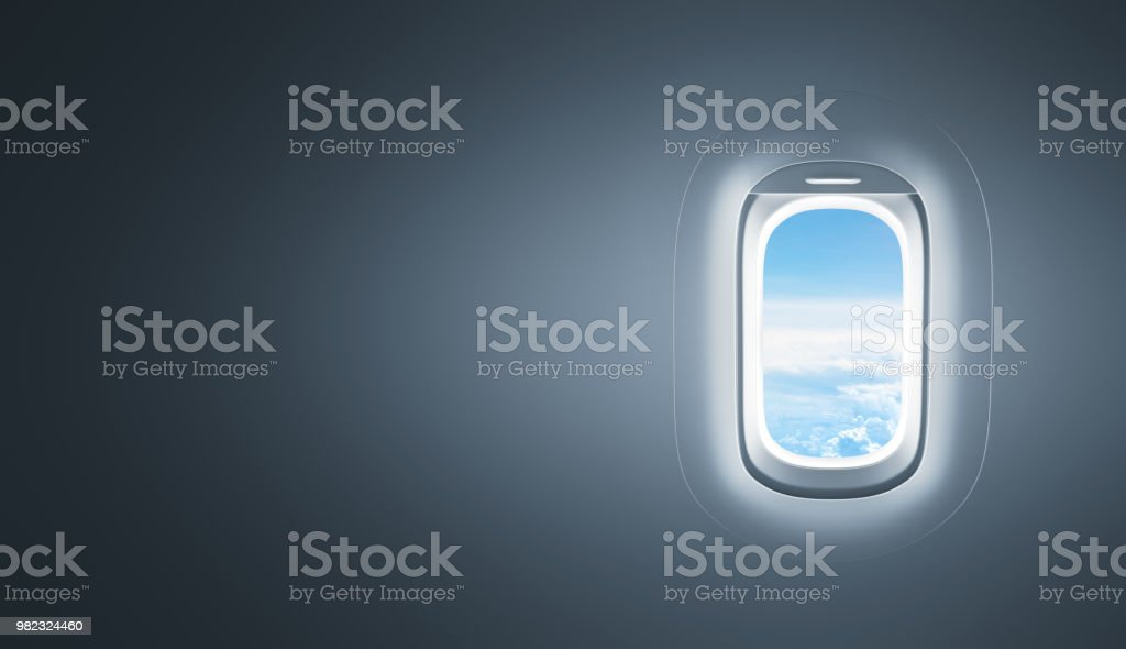 Airplane window with copy space stock photo
