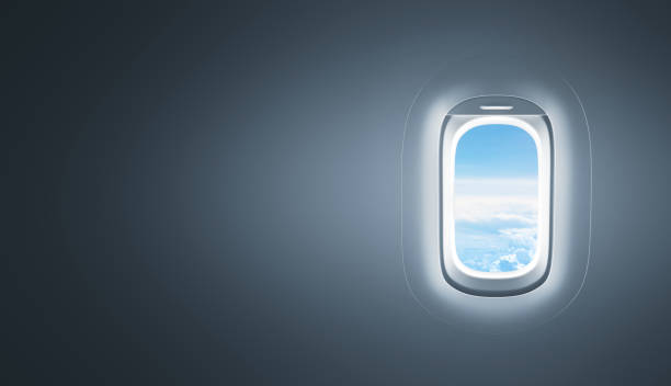 airplane window with copy space - janela imagens e fotografias de stock