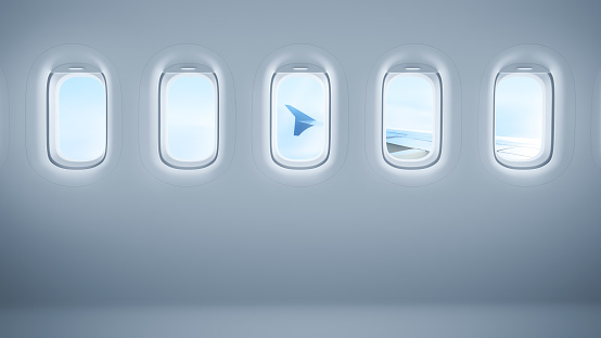 Airplane windows with copy space