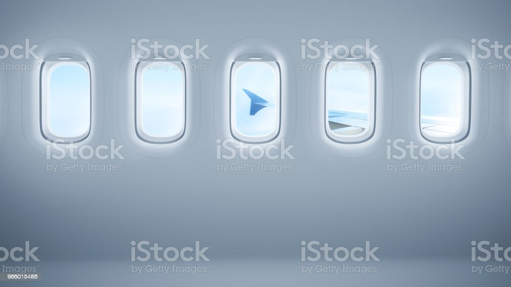 Airplane windows with copy space stock photo