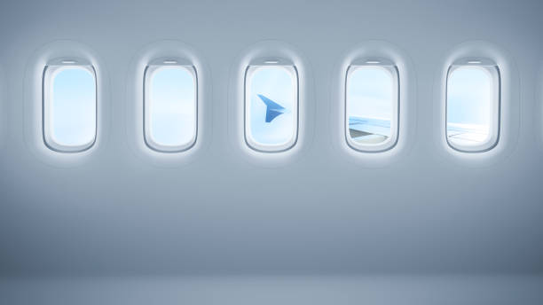 Airplane windows with copy space Airplane windows with copy space passenger cabin stock pictures, royalty-free photos & images