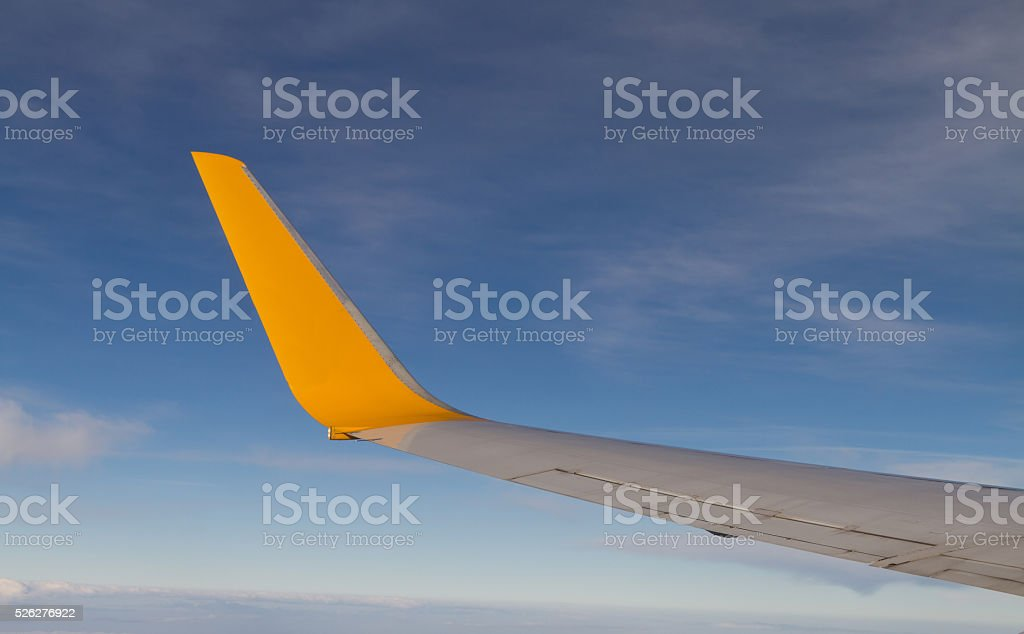 Airplane Wing and Wingtrip stock photo