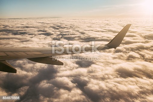484616224 istock photo Airplane wing at sunset 834575558