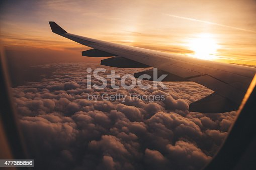 istock Airplane Wing in Flight 477385856