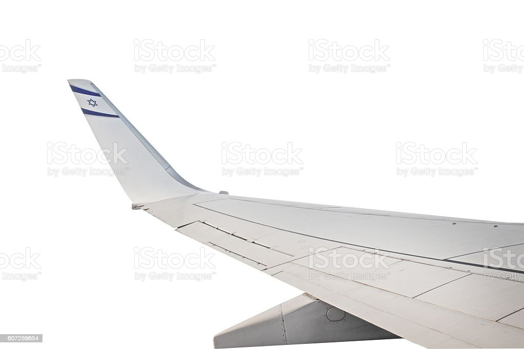 airplane wing isolated with israeli flag stock photo