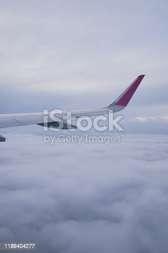 900763322 istock photo Airplane wing, scenic view from the window. Higher than clouds. Beautiful cloud, blue sky. Traveling by plane, adventure. Flight over Europe. Air transport. Aviation. Holiday in other country. Poster 1189404277