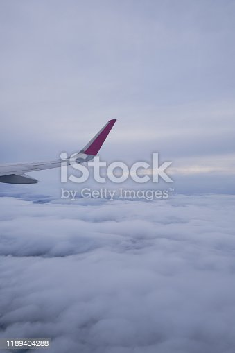 900763322 istock photo Airplane wing, scenic view from the window. Higher than clouds. Beautiful cloud, blue sky. Traveling by plane, adventure. Flight over Europe. Air transport. Aviation. Holiday in other country. Poster 1189404288