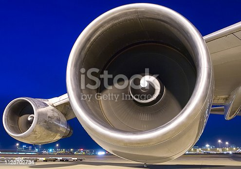 istock Airplane wing with two turbines 1125702734