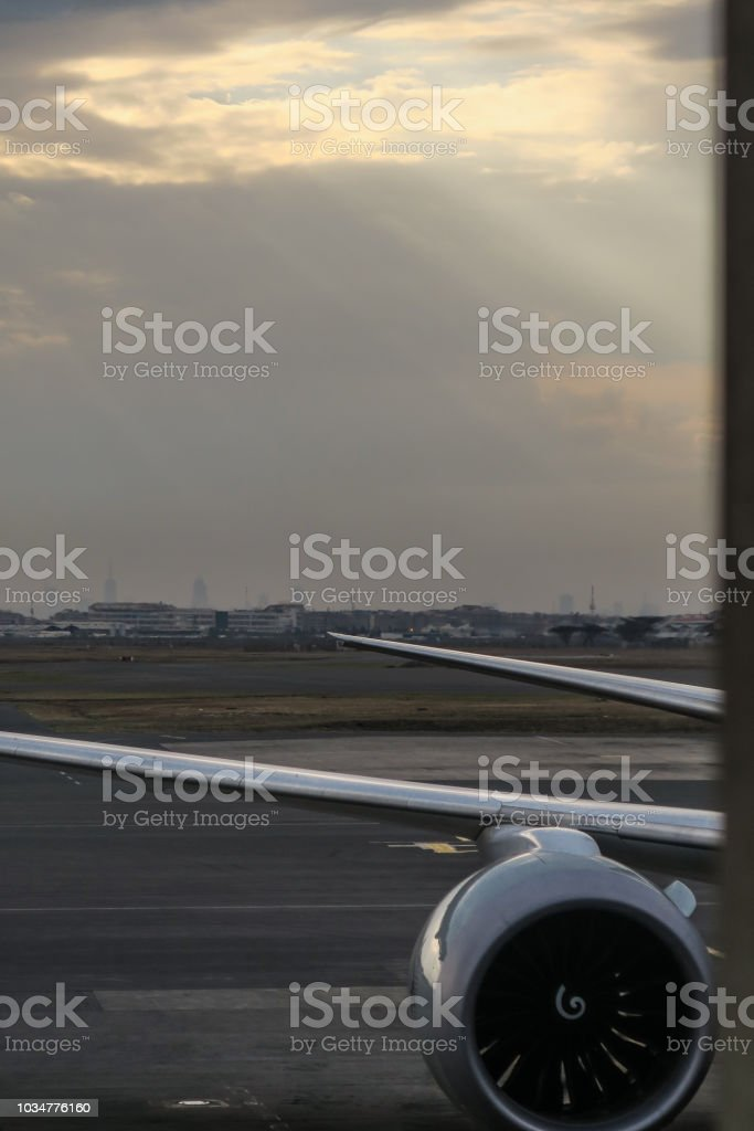 Airplane wings on Mombasa Airport in Kenya stock photo