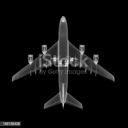 istock Airplane Wireframe 155135426