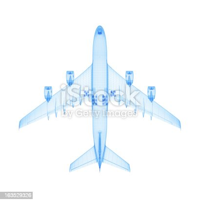 istock Airplane Wireframe 163529326