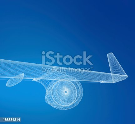 istock Airplane Wireframe 186834314