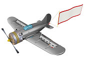 Grey propeller plane in flight with a blank advertising banner. Isolated. 3D Illustration