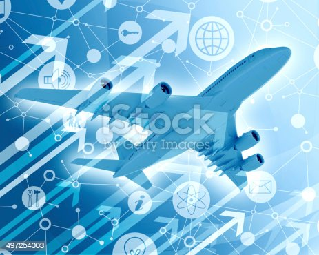 istock Airplane with background of app icons and arrows 497254003