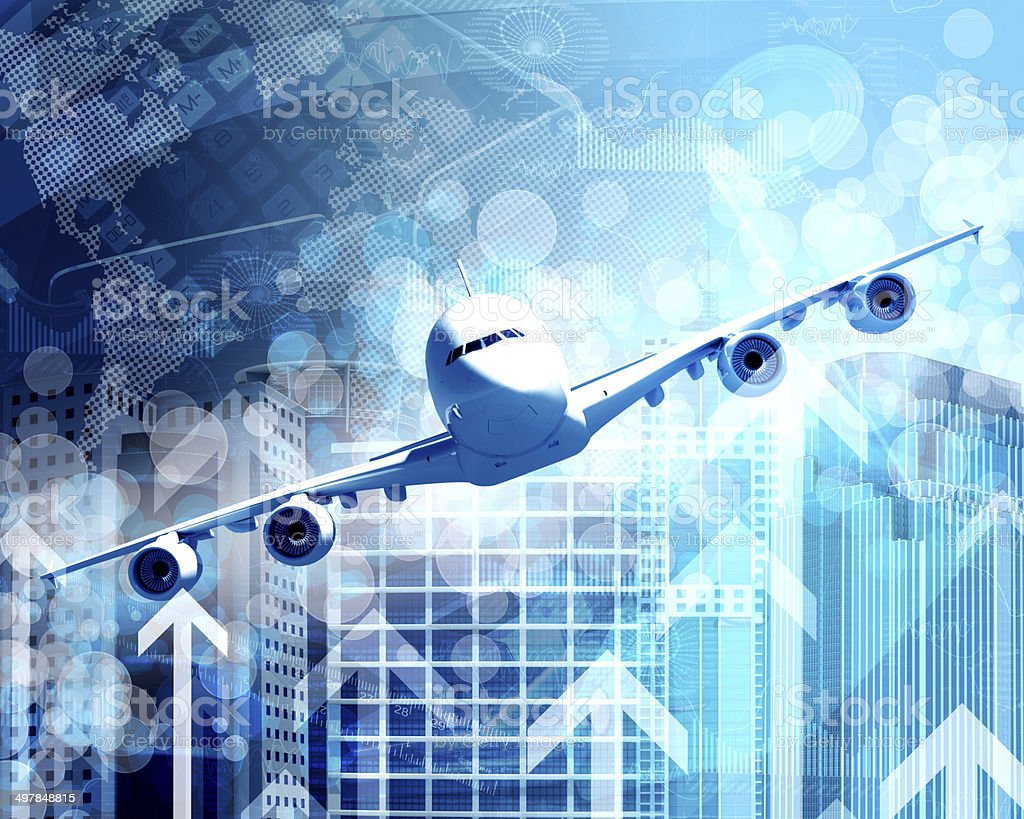 Airplane with background of skyscrapers and arrows stock photo