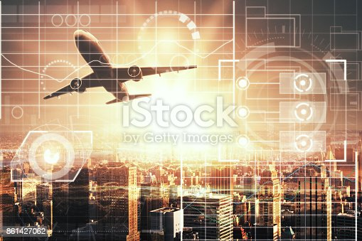 istock Airplane with business interface 861427062
