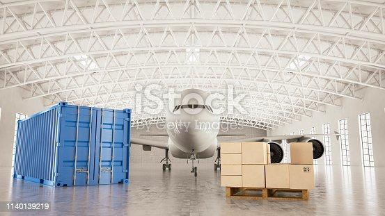 Airplane with Cargo in Empty White Hangar. 3D Render