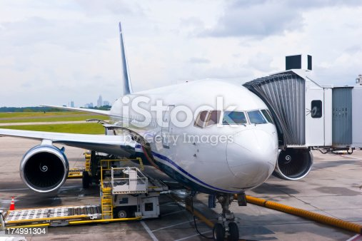 istock Airplane with connectec Gangway 174991304