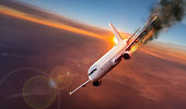istock Airplane with engine on fire, concept of aerial disaster 1005627600