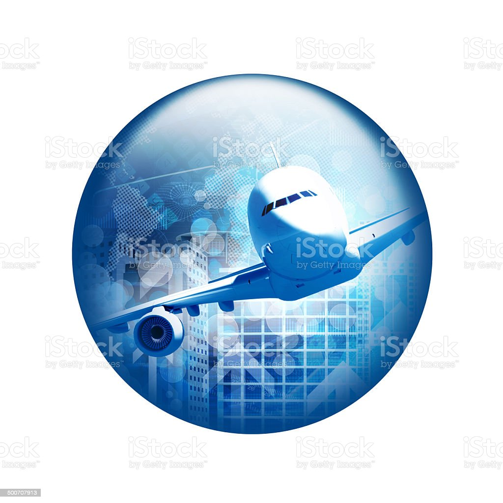 Airplane with skyscrapers. Spherical glossy button stock photo