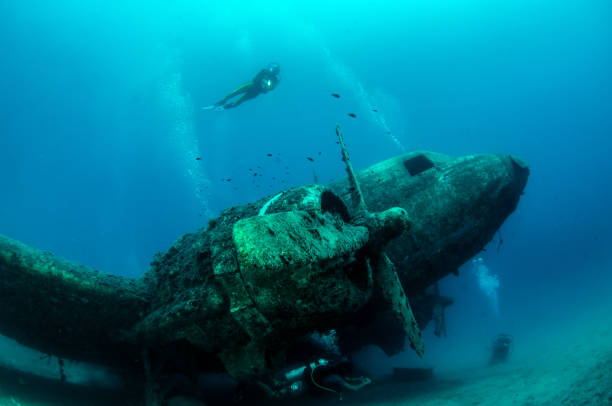 Airplane Wreck at Kas, Turkey Picture shows a Dakota C47 Airplane Wreck at Kas, Turkey sunken stock pictures, royalty-free photos & images