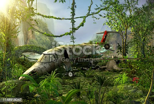 istock Airplane wreck in the jungle - crash site 1148918042