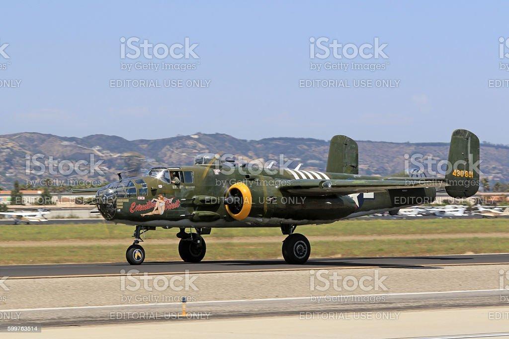 Airplane WWII B-25 Mitchell bomber on runway stock photo