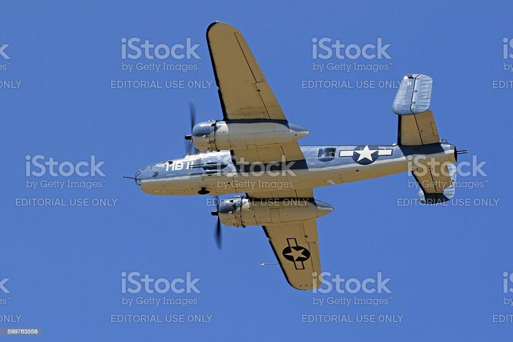 Airplane WWII B-25 Mitchell PBJ overhead stock photo