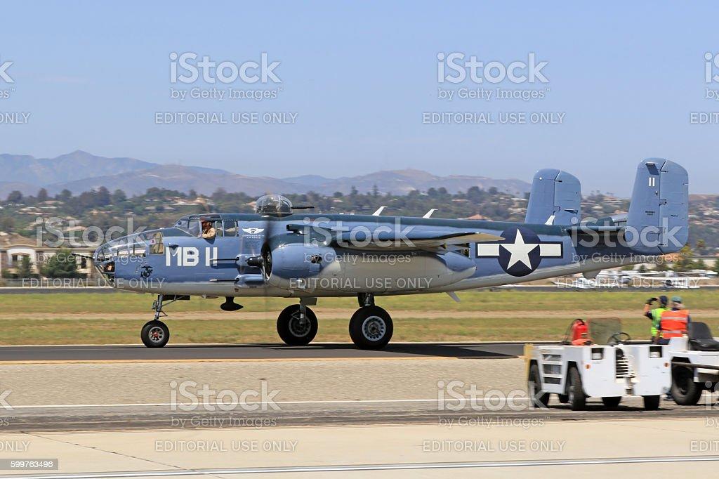 Airplane WWII B-25 Mitchell PBJ stock photo