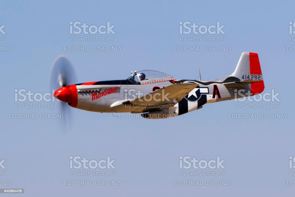Airplane WWII vintage P-51 Mustang fighter aircraft stock photo