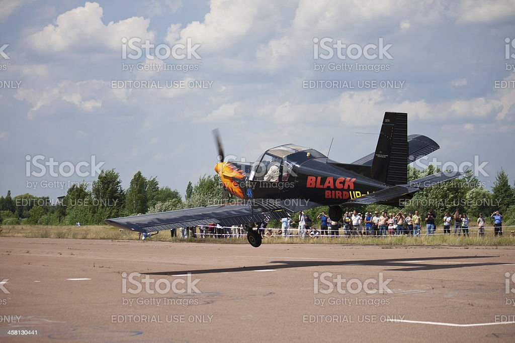 Airplane Zlin Z-42MU flies past spectators. Zhytomyr. Ukraine. stock photo