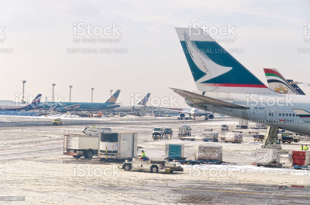Airplanes at Airport Frankfurt /M royalty-free stock photo