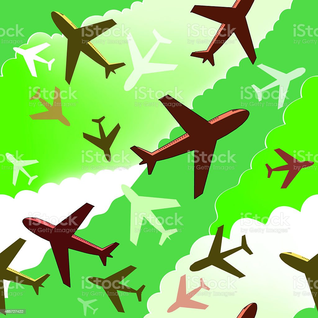 Airplanes background. Seamless background pattern with gray airplanes on green sky. stock photo