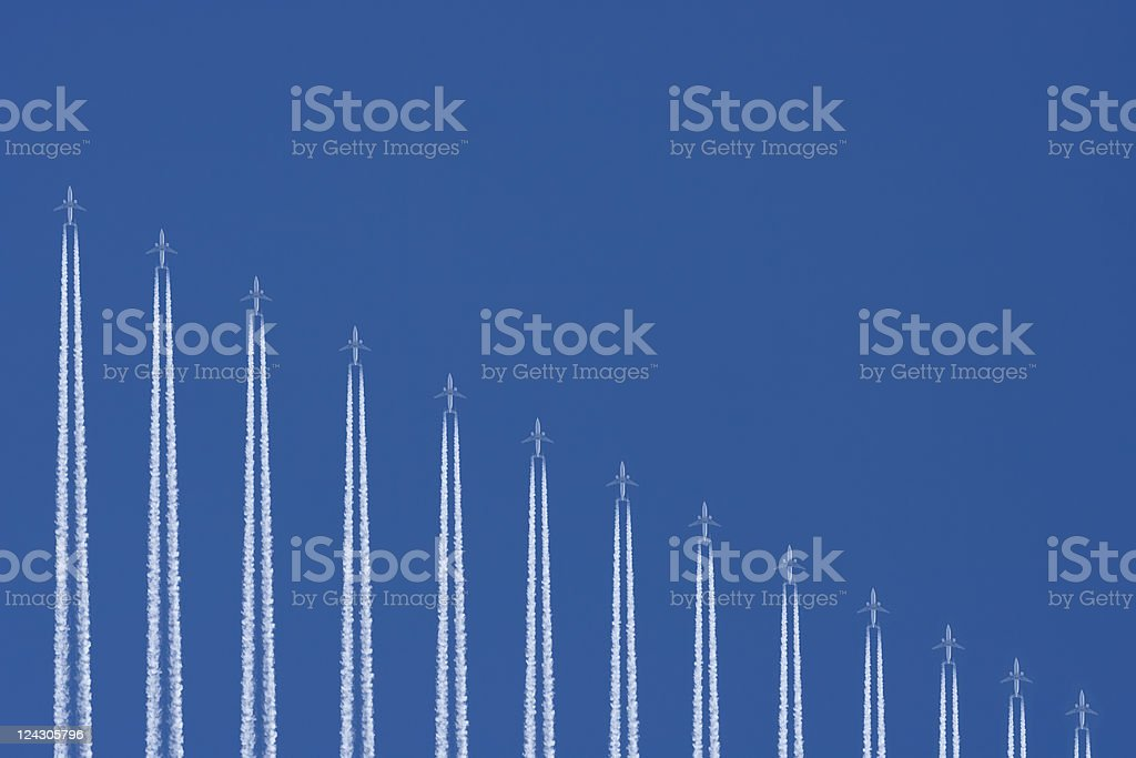 Airplanes Flying in a Blue Sky as Graph Image stock photo