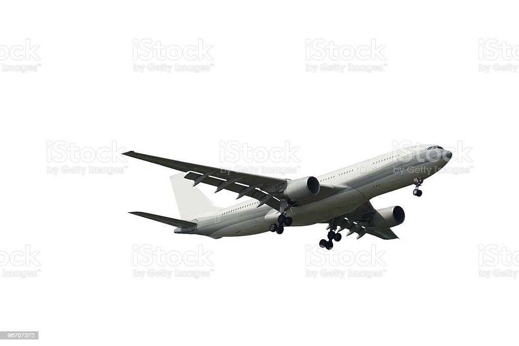 Airplanes Flying Isolated on White, Side View royalty-free stock photo