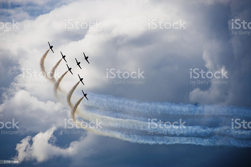 airplanes in a flight show stock photo