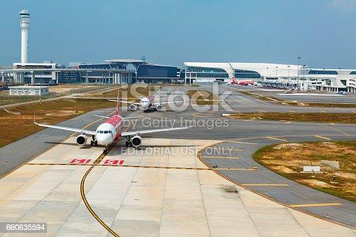 istock Airplanes in Kuala Lumpur International Airport terminal KLIA 2, Malaysia 660635594