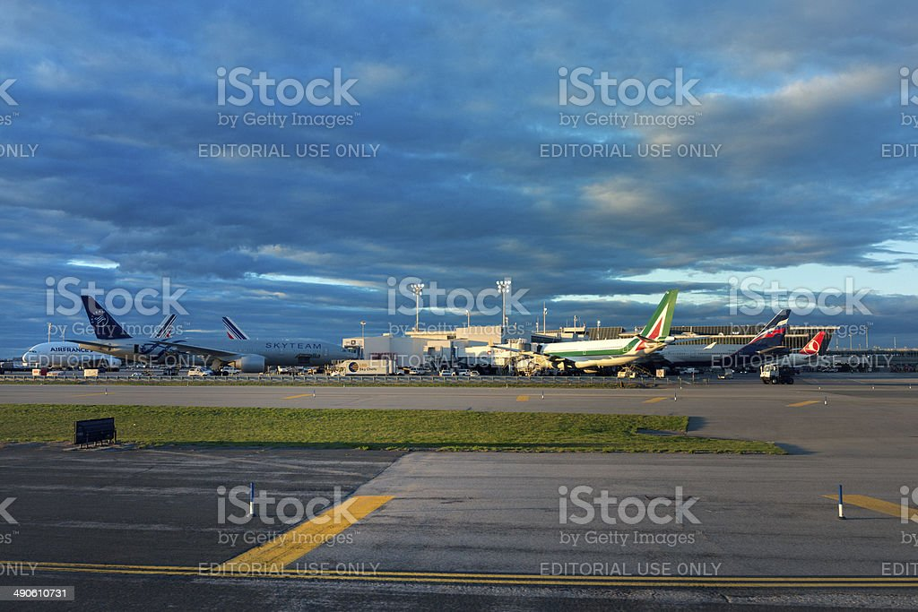Airplanes loading on airport JFK, New York royalty-free stock photo