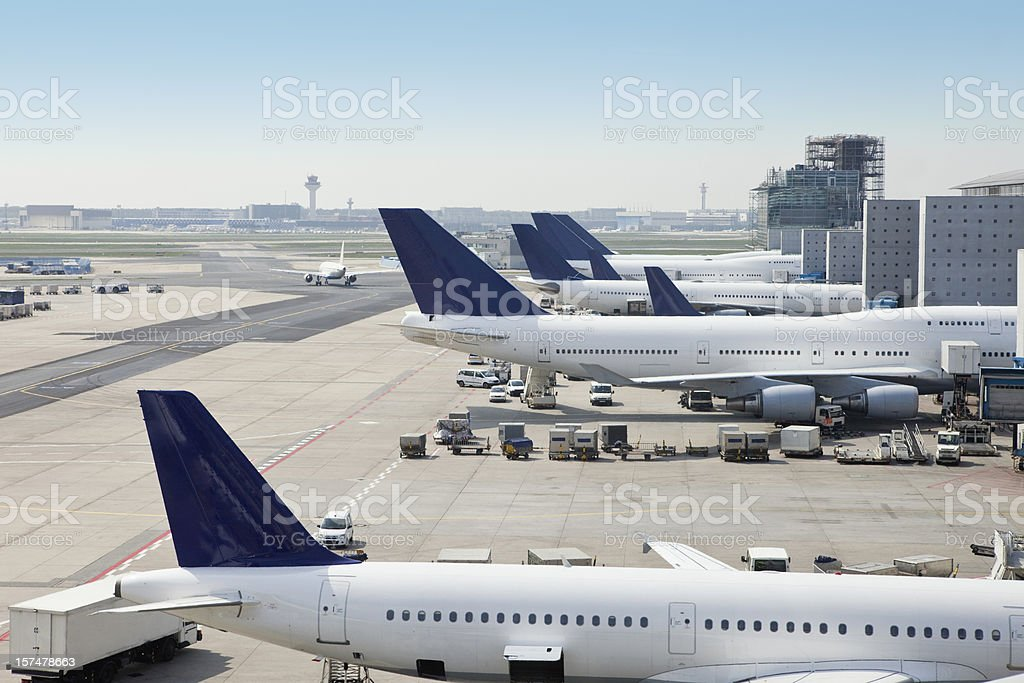 Airplanes loading on airport stock photo