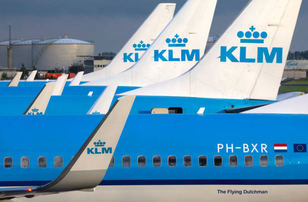 Airplanes of KLM at Schiphol Airport stock photo