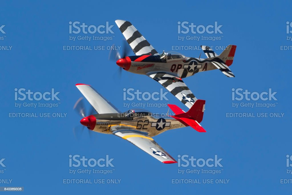 Airplanes pair of P-51 Mustang WWII fighters stock photo