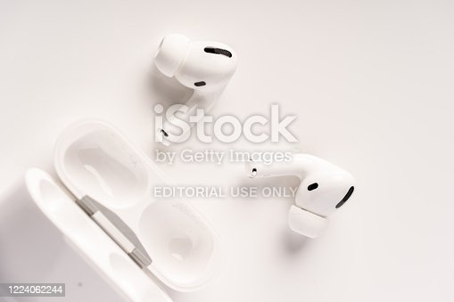 Kuala Lumpur, Malaysia - December 2019. The new airpods pro features active noise cancelling and  customizable fit
