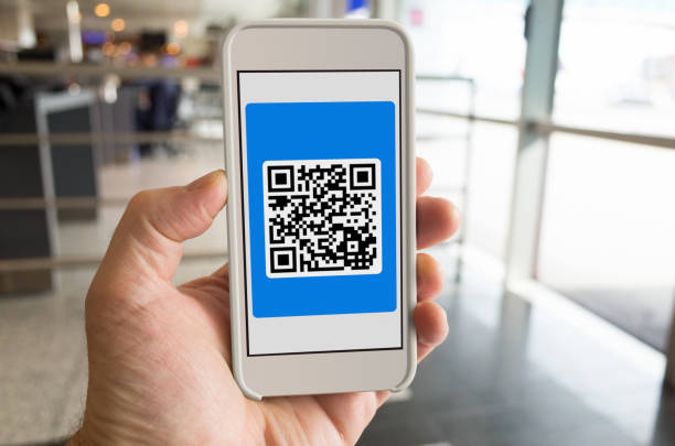 Airport 2D Barcode Boarding Pass on Smartphone POV stock photo