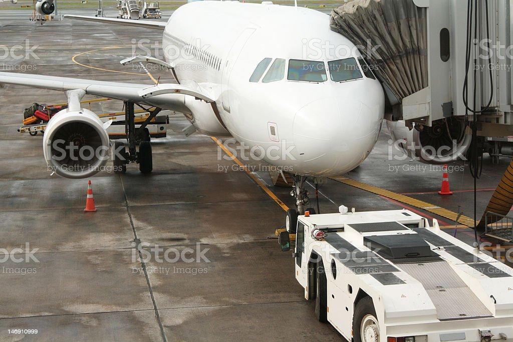 Airport Aeroplane & Airbridge stock photo