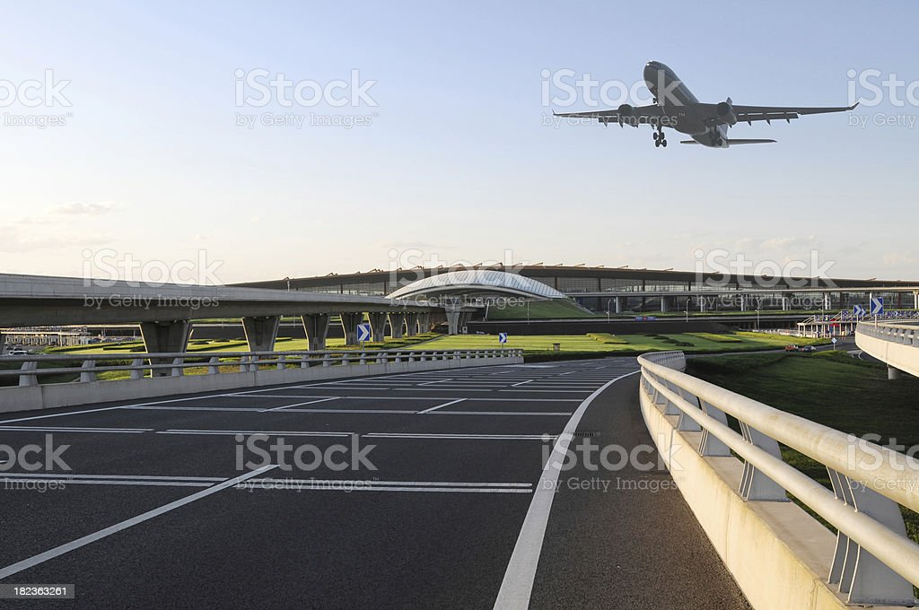 Airport and Airplane Taking Off  - XLarge stock photo