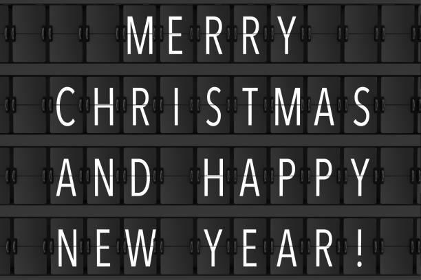 flughafen-ankündigung flip mechanische zeitplan mit hapy frohe weihnachten und frohes neues jahr. 3d rendering - sprüche zum firmenjubiläum stock-fotos und bilder