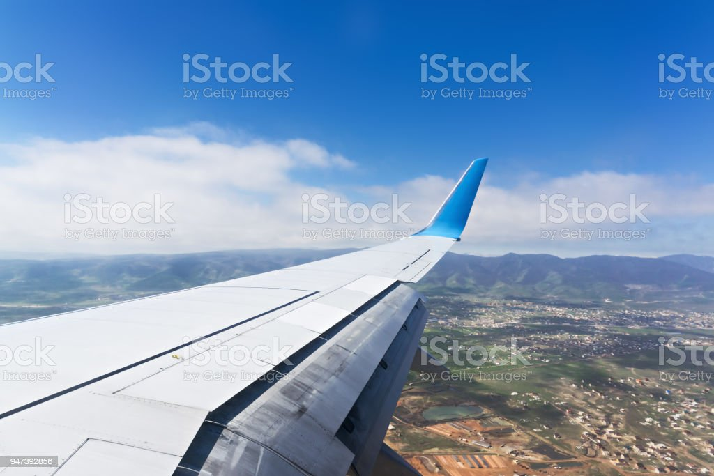 Airport approach stock photo