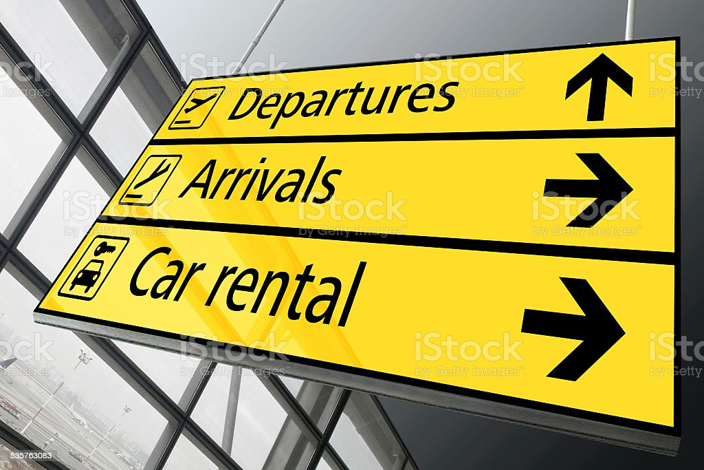 Airport arrival departure and car rental sign stock photo