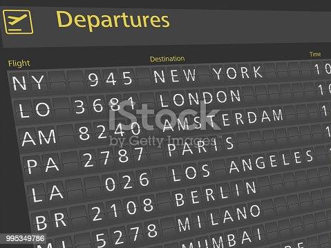 istock Airport arrival departure timetable flight 995349786